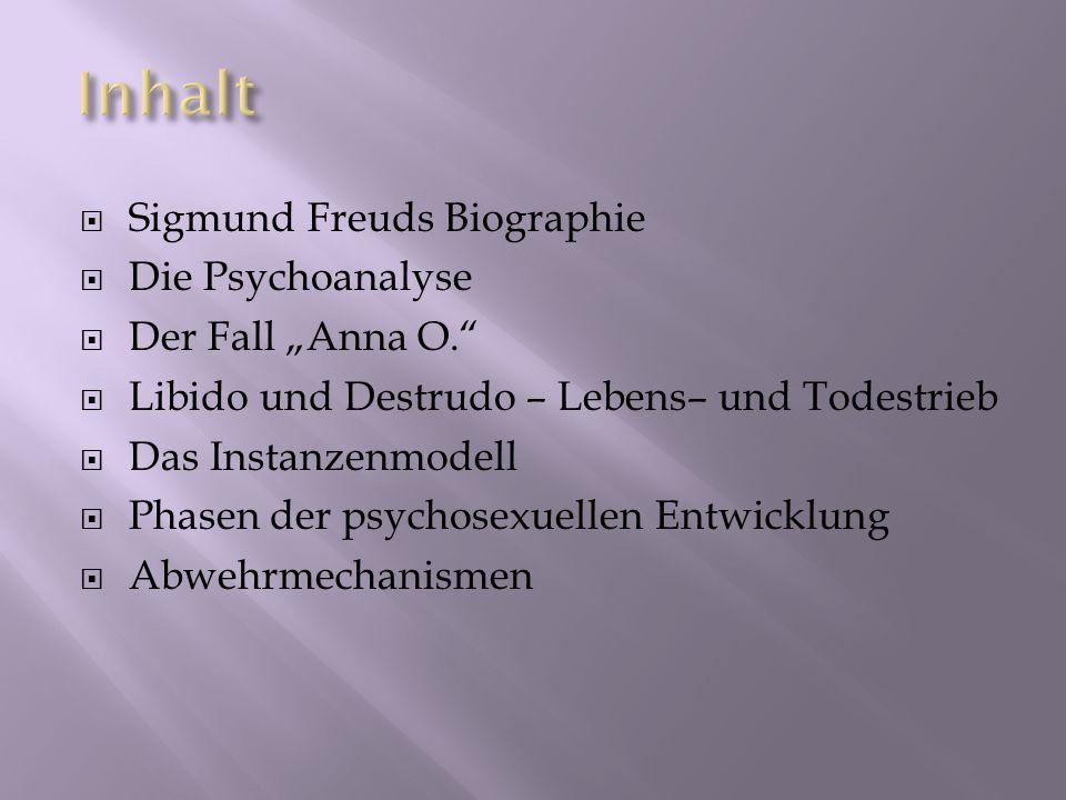 Sigmund Freuds Biographie Die Psychoanalyse Der Fall Anna O. Libido und Destrudo – Lebens– und Todestrieb Das Instanzenmodell Phasen der psychosexuell