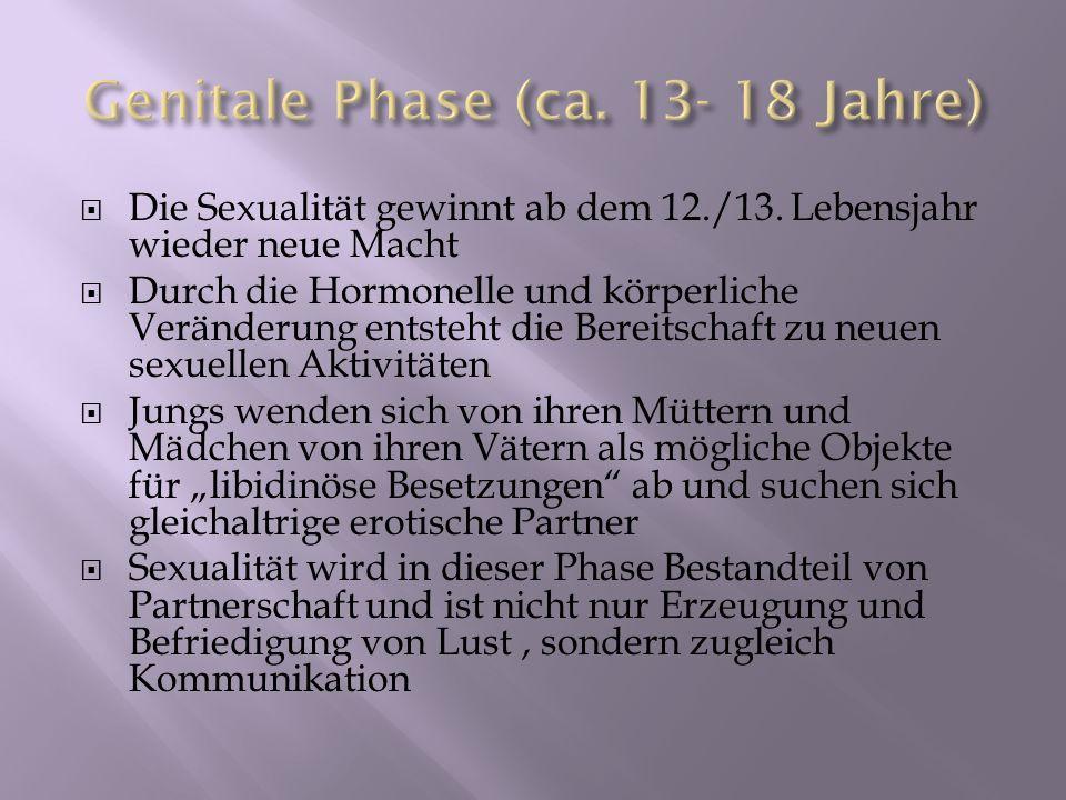 Die Sexualität gewinnt ab dem 12./13. Lebensjahr wieder neue Macht Durch die Hormonelle und körperliche Veränderung entsteht die Bereitschaft zu neuen