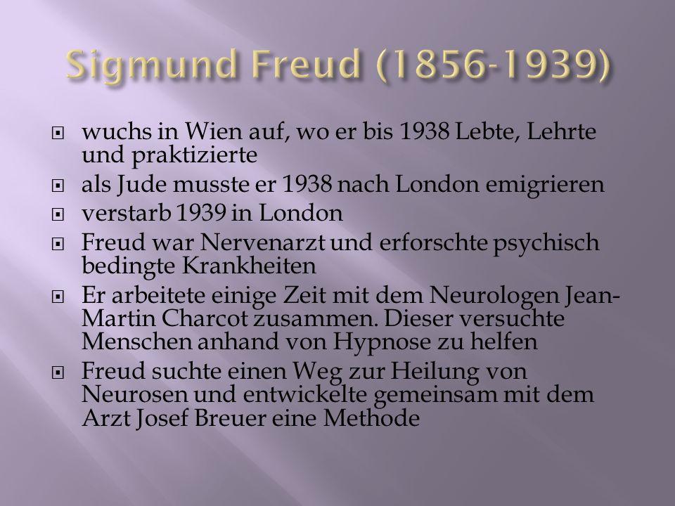 wuchs in Wien auf, wo er bis 1938 Lebte, Lehrte und praktizierte als Jude musste er 1938 nach London emigrieren verstarb 1939 in London Freud war Nerv