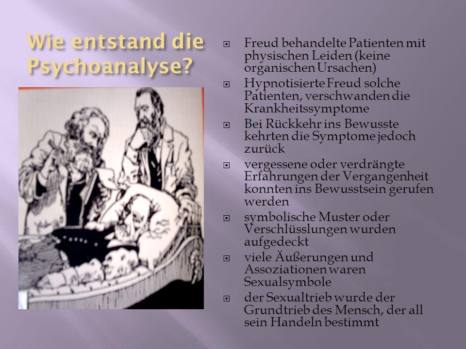 Wie entstand die Psychoanalyse? Freud behandelte Patienten mit physischen Leiden (keine organischen Ursachen) Hypnotisierte Freud solche Patienten, ve