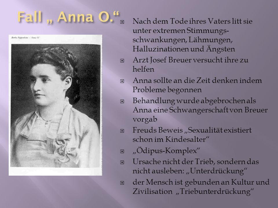 Fall Anna O. Nach dem Tode ihres Vaters litt sie unter extremen Stimmungs- schwankungen, Lähmungen, Halluzinationen und Ängsten Arzt Josef Breuer vers