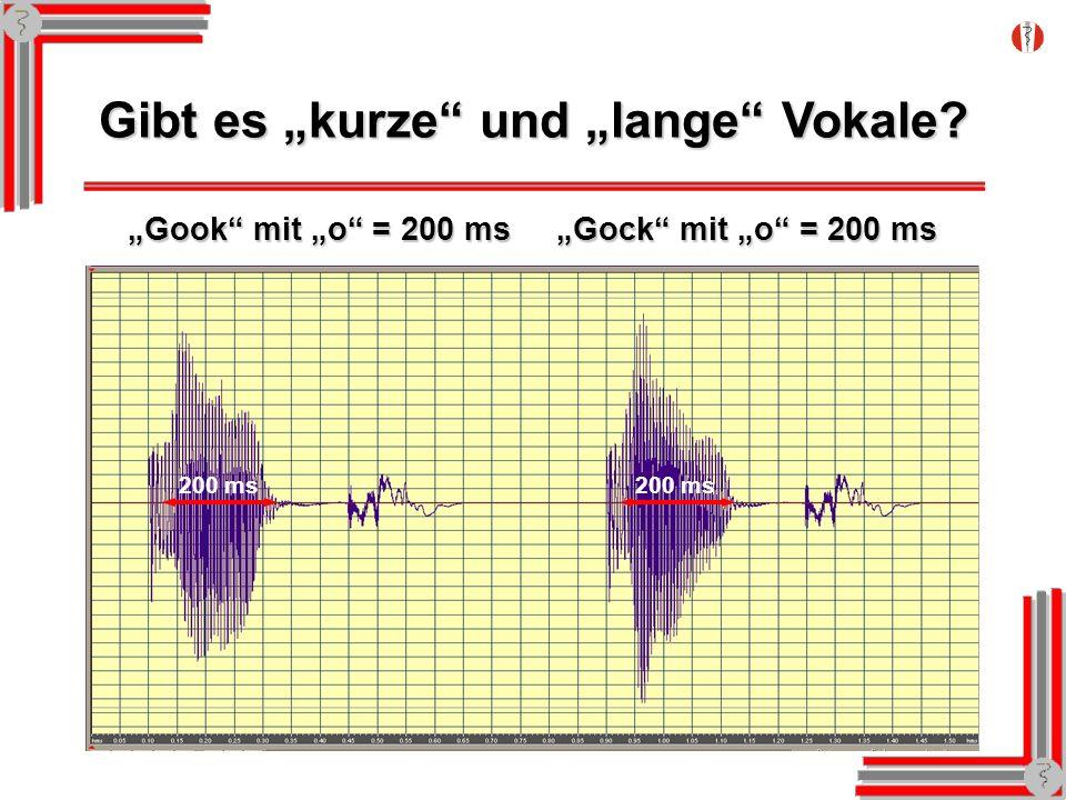 Gibt es kurze und lange Vokale? Gook mit o = 200 ms Gock mit o = 200 ms 200 ms