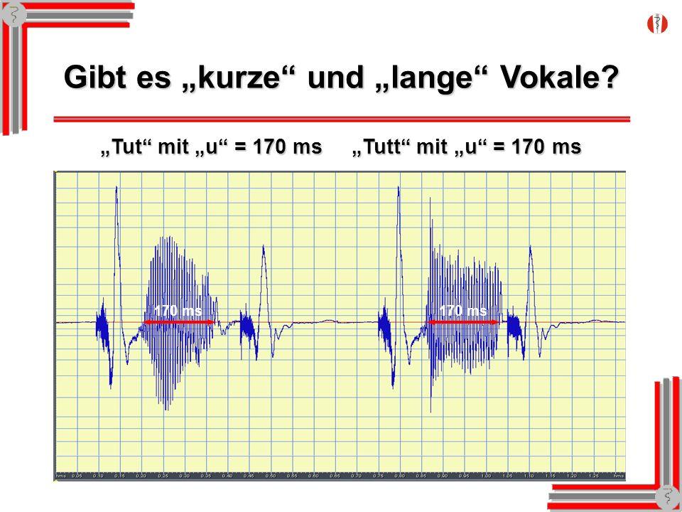 Gibt es kurze und lange Vokale? Tut mit u = 170 ms Tutt mit u = 170 ms 170 ms