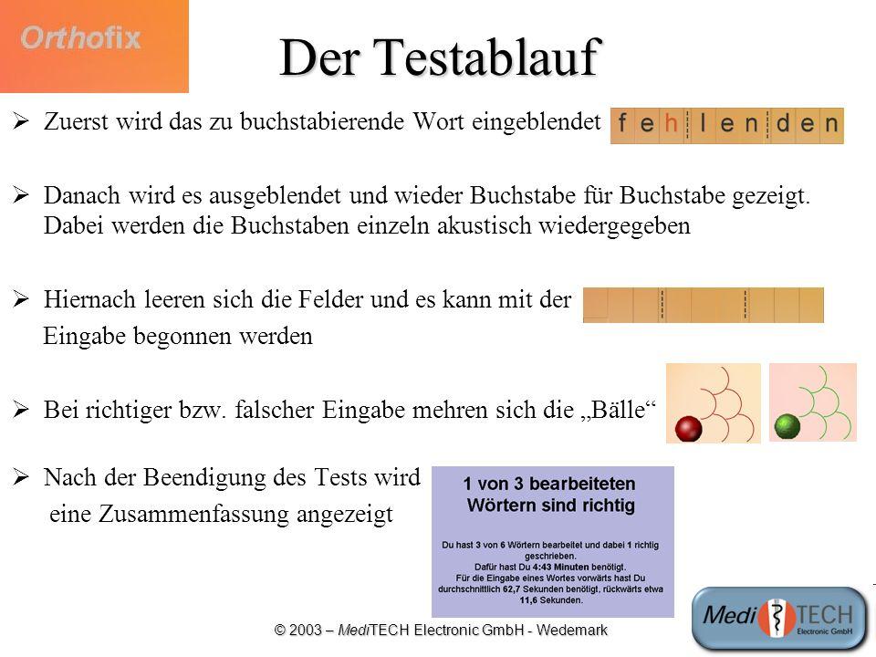 © 2003 – MediTECH Electronic GmbH - Wedemark Der Testablauf Zuerst wird das zu buchstabierende Wort eingeblendet Danach wird es ausgeblendet und wiede