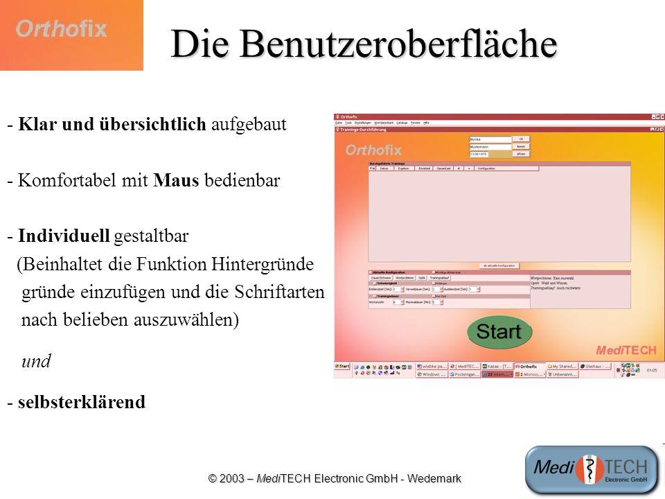 © 2003 – MediTECH Electronic GmbH - Wedemark Die Benutzeroberfläche - Klar und übersichtlich aufgebaut - Komfortabel mit Maus bedienbar - Individuell