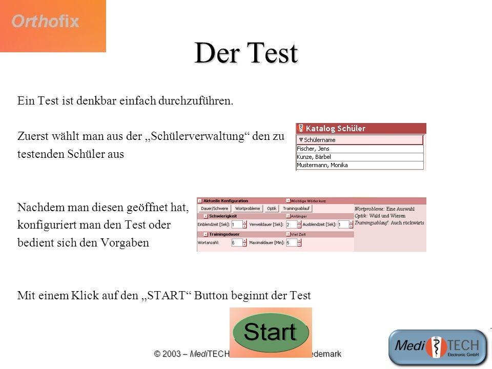 © 2003 – MediTECH Electronic GmbH - Wedemark Die Testoberfläche Anzahl der richtig (grün) und fehlerhaft (rot) buchstabierten Wörter Testabbruch Verbleibende Zeit Zu buchstabierendes Wort