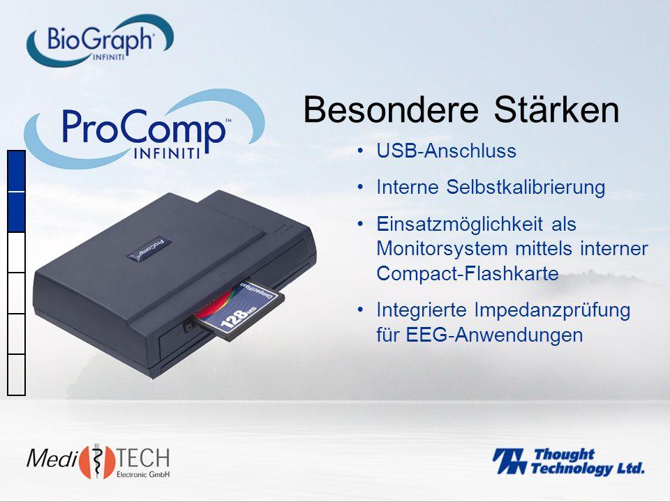 USB-Anschluss Interne Selbstkalibrierung Einsatzmöglichkeit als Monitorsystem mittels interner Compact-Flashkarte Integrierte Impedanzprüfung für EEG-