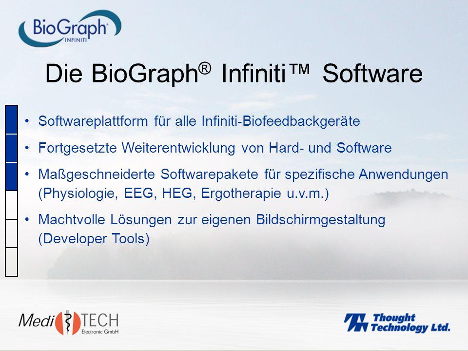 Die BioGraph ® Infiniti Software Softwareplattform für alle Infiniti-Biofeedbackgeräte Fortgesetzte Weiterentwicklung von Hard- und Software Maßgeschn