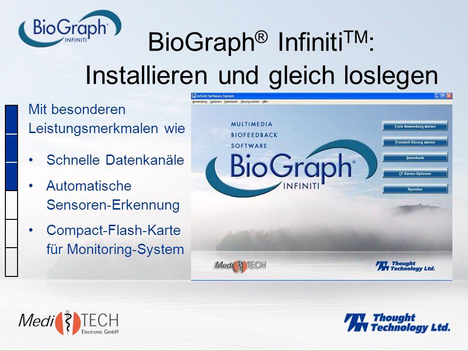 BioGraph ® Infiniti TM : Installieren und gleich loslegen Mit besonderen Leistungsmerkmalen wie Schnelle Datenkanäle Automatische Sensoren-Erkennung C