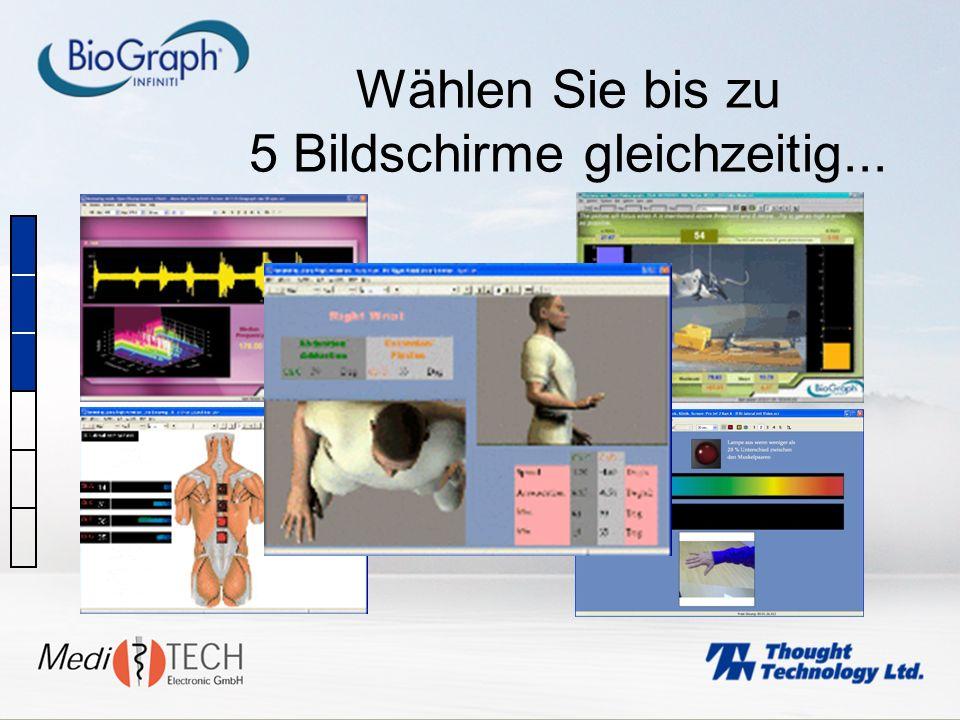 Wählen Sie bis zu 5 Bildschirme gleichzeitig...