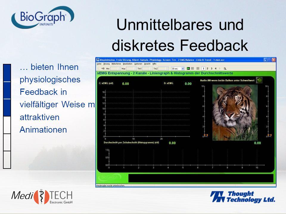Unmittelbares und diskretes Feedback … bieten Ihnen physiologisches Feedback in vielfältiger Weise mit attraktiven Animationen