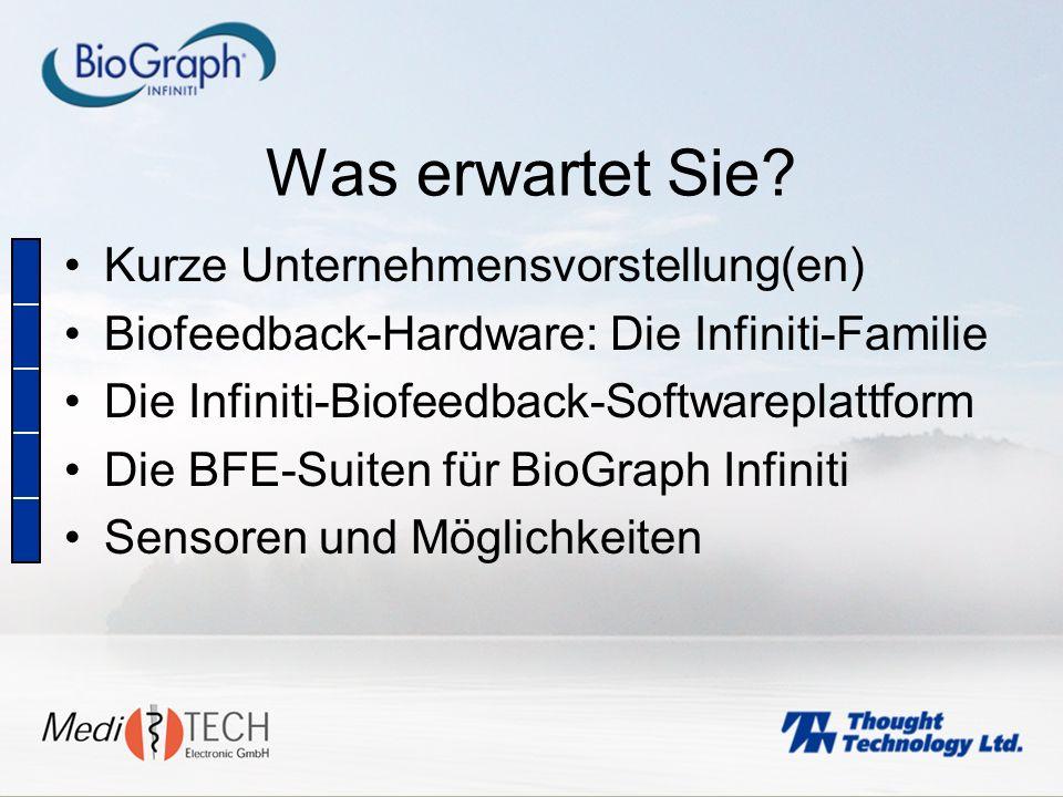 Hohe Datenauflösung: 2 Kanäle mit 2048 s/s 6 Kanäle mit 256 s/s EMG-Rohdatenerfassung (auf bis zu 10-Kanälen mit FlexComp Infiniti) Bis zu 8 EEG-Anschlüsse (oder beliebige andere Biofeedbacksensoren) Automatische Sensoren- Erkennung Besondere Stärken