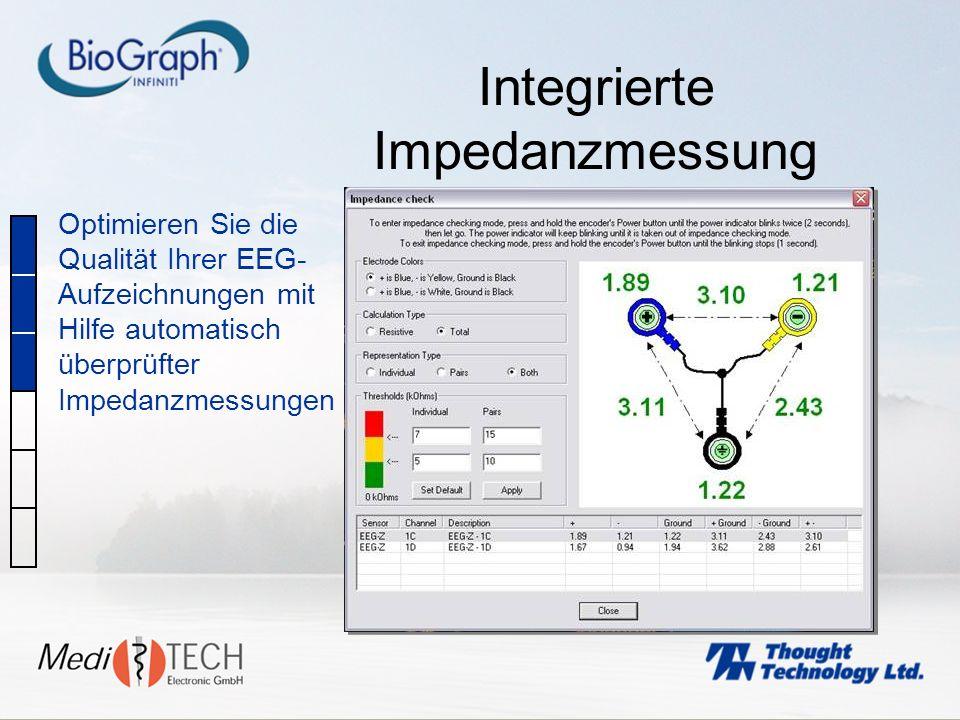 Integrierte Impedanzmessung Optimieren Sie die Qualität Ihrer EEG- Aufzeichnungen mit Hilfe automatisch überprüfter Impedanzmessungen