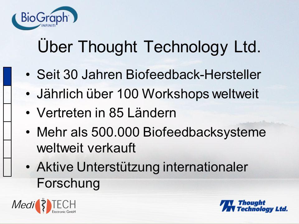 Über Thought Technology Ltd. Seit 30 Jahren Biofeedback-Hersteller Jährlich über 100 Workshops weltweit Vertreten in 85 Ländern Mehr als 500.000 Biofe