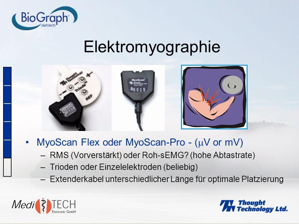 Elektromyographie MyoScan Flex oder MyoScan-Pro - ( V or mV) –RMS (Vorverstärkt) oder Roh-sEMG? (hohe Abtastrate) –Trioden oder Einzelelektroden (beli