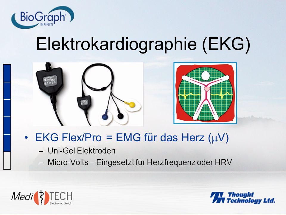 Elektrokardiographie (EKG) EKG Flex/Pro = EMG für das Herz ( V) –Uni-Gel Elektroden –Micro-Volts – Eingesetzt für Herzfrequenz oder HRV