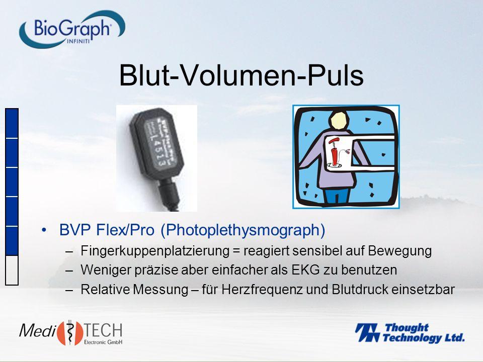 Blut-Volumen-Puls BVP Flex/Pro (Photoplethysmograph) –Fingerkuppenplatzierung = reagiert sensibel auf Bewegung –Weniger präzise aber einfacher als EKG