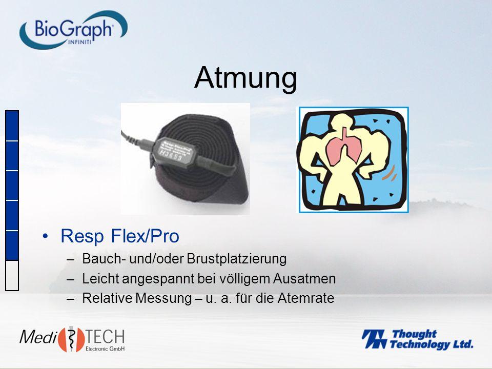 Atmung Resp Flex/Pro –Bauch- und/oder Brustplatzierung –Leicht angespannt bei völligem Ausatmen –Relative Messung – u. a. für die Atemrate