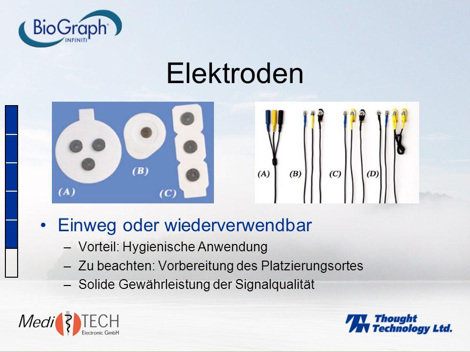 Elektroden Einweg oder wiederverwendbar –Vorteil: Hygienische Anwendung –Zu beachten: Vorbereitung des Platzierungsortes –Solide Gewährleistung der Si