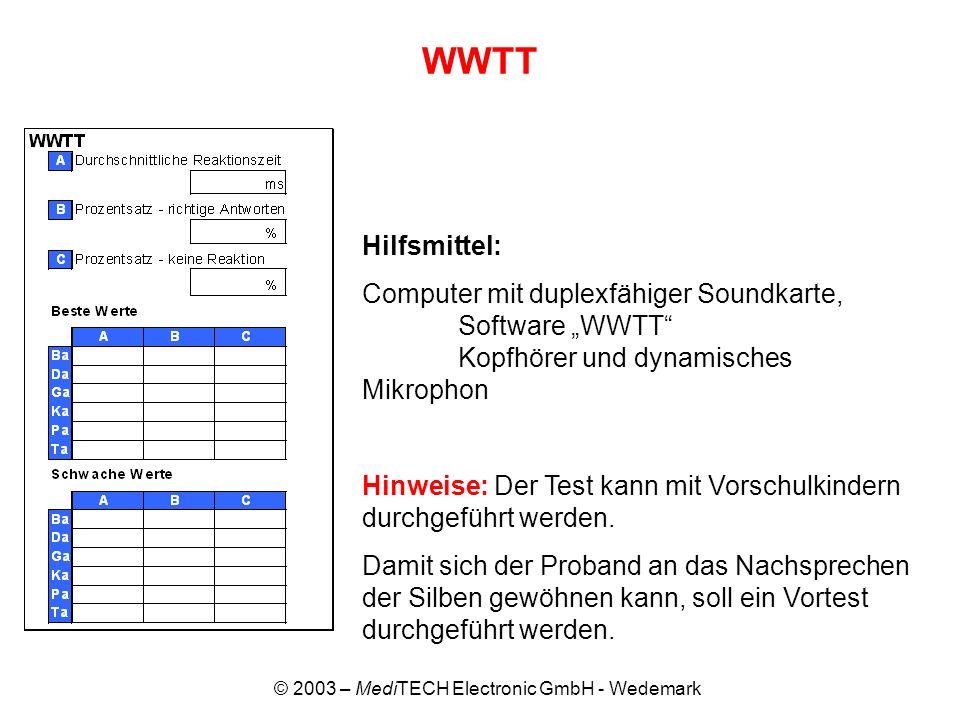 © 2003 – MediTECH Electronic GmbH - Wedemark WWTT Hilfsmittel: Computer mit duplexfähiger Soundkarte, Software WWTT Kopfhörer und dynamisches Mikropho