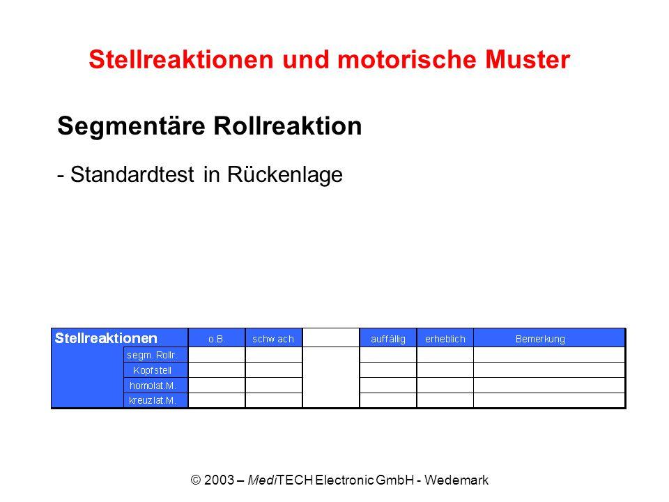 © 2003 – MediTECH Electronic GmbH - Wedemark Stellreaktionen und motorische Muster Segmentäre Rollreaktion - Standardtest in Rückenlage
