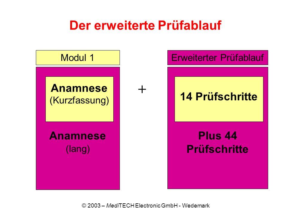 © 2003 – MediTECH Electronic GmbH - Wedemark Der erweiterte Prüfablauf + Modul 1 Anamnese (lang) Anamnese (Kurzfassung) Plus 44 Prüfschritte 14 Prüfsc