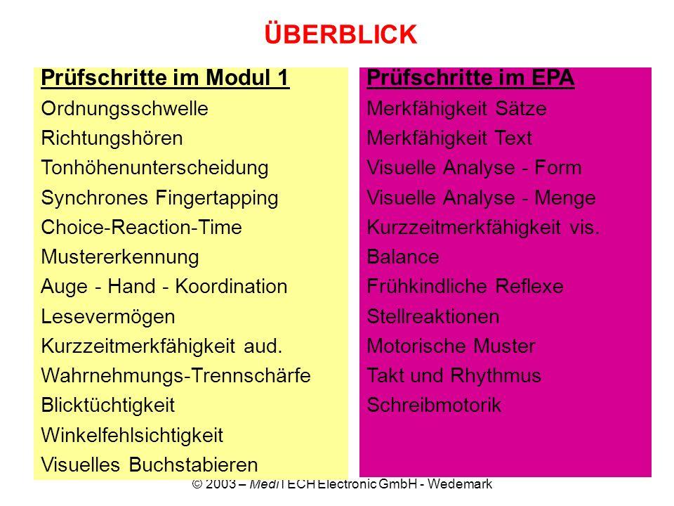 © 2003 – MediTECH Electronic GmbH - Wedemark ÜBERBLICK Prüfschritte im Modul 1 Ordnungsschwelle Richtungshören Tonhöhenunterscheidung Synchrones Finge