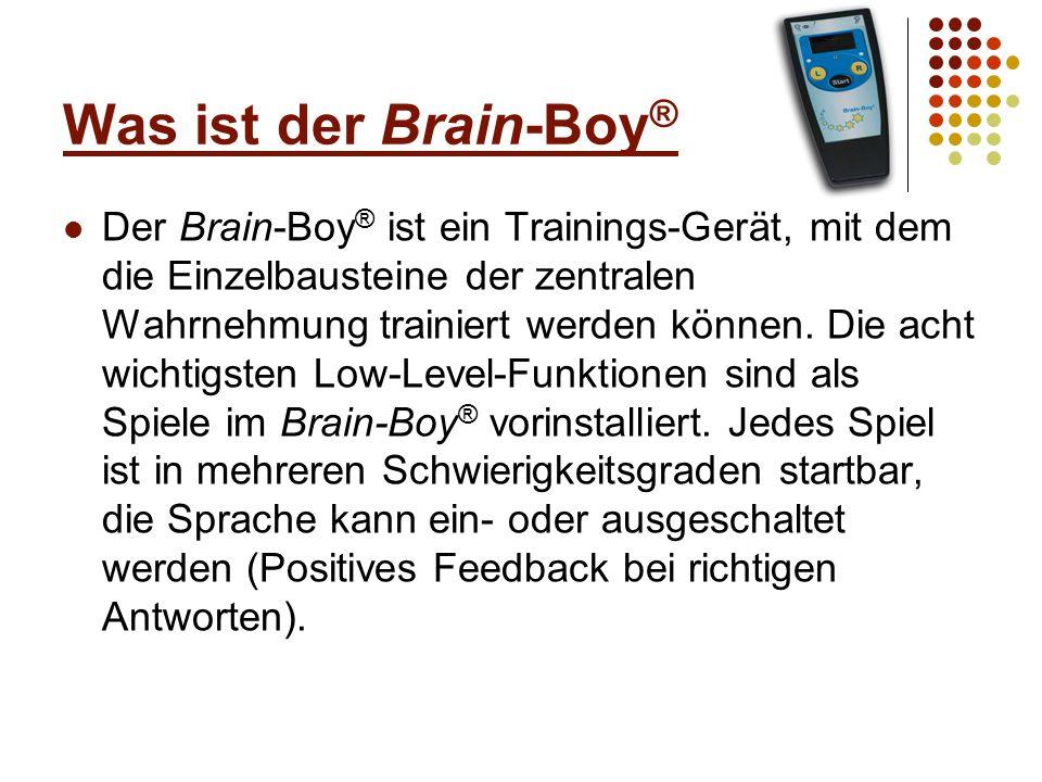 Die Spiele des Brain-Boy ® Visuelle Ordnungsschwelle (Spiel A, es muss der erste visuelle Sinnesreiz identifiziert werden) Auditive Ordnungsschwelle (Spiel B, es muss der erste auditive Sinnesreiz identifiziert werden) Als Ordnungsschwelle bezeichnet man das Zeitmaß für die Fähigkeit, schnell aufeinander folgende Sinnesreize (auditiv / visuell) getrennt wahrzunehmen und in eine Reihenfolge zu bringen.