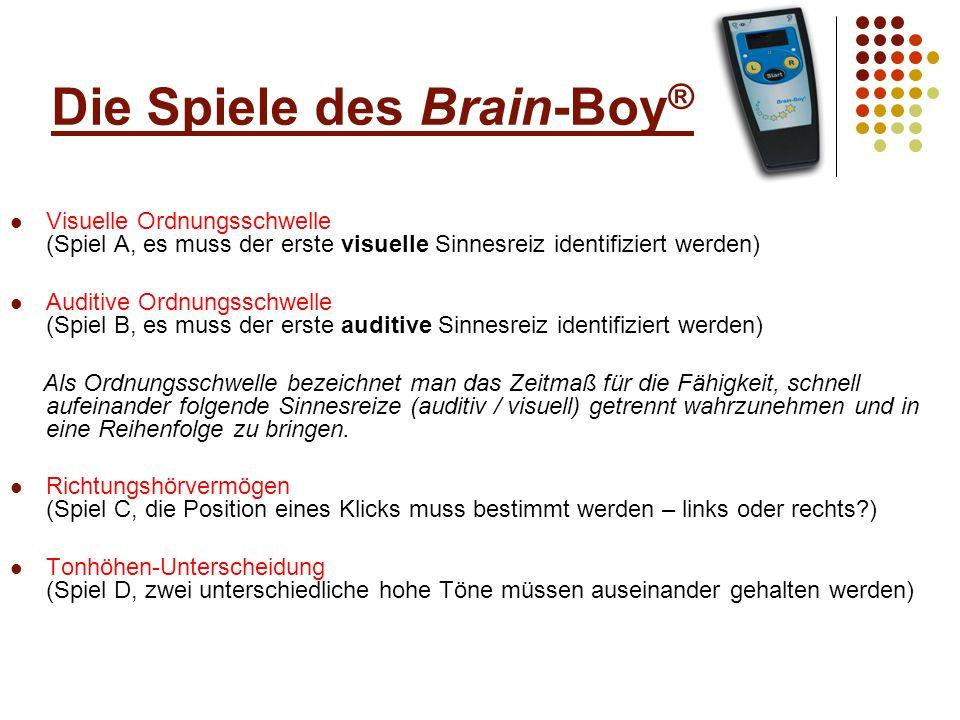 Die Spiele des Brain-Boy ® Auditiv-motorische Umsetzung (Spiel E, der Anwender soll synchron zu zwei Klicks mittippen) Wahl-Reaktionszeit (Spiel F, schnell sollen zwei unterschiedliche Töne auseinander gehalten und treffsicher benannt werden) Frequenz-Mustererkennung (Spiel G, es soll aus drei Tönen ein in der Frequenz abweichender Ton benannt werden) Zeit-Mustererkennung (Spiel H, es soll aus drei unterschiedlichen langen Tönen der längere benannt werden)