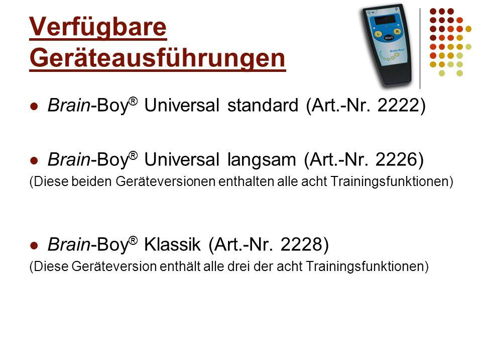 Lieferumfang Brain-Boy ® + eingesetzter Batterie Kopfhörer MT-HS-16-II (kleiner Klinkenstecker) 2 Gebrauchsanweisungen (Kinder und Erwachsene)