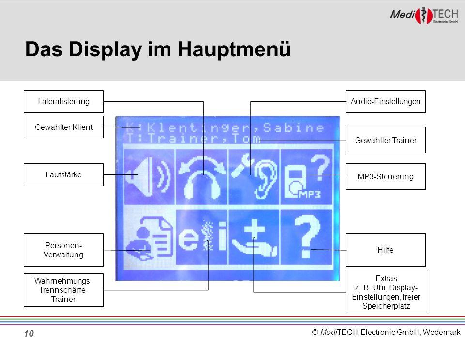 © MediTECH Electronic GmbH, Wedemark 10 Das Display im Hauptmenü Lateralisierung Lautstärke Personen- Verwaltung Wahrnehmungs- Trennschärfe- Trainer E
