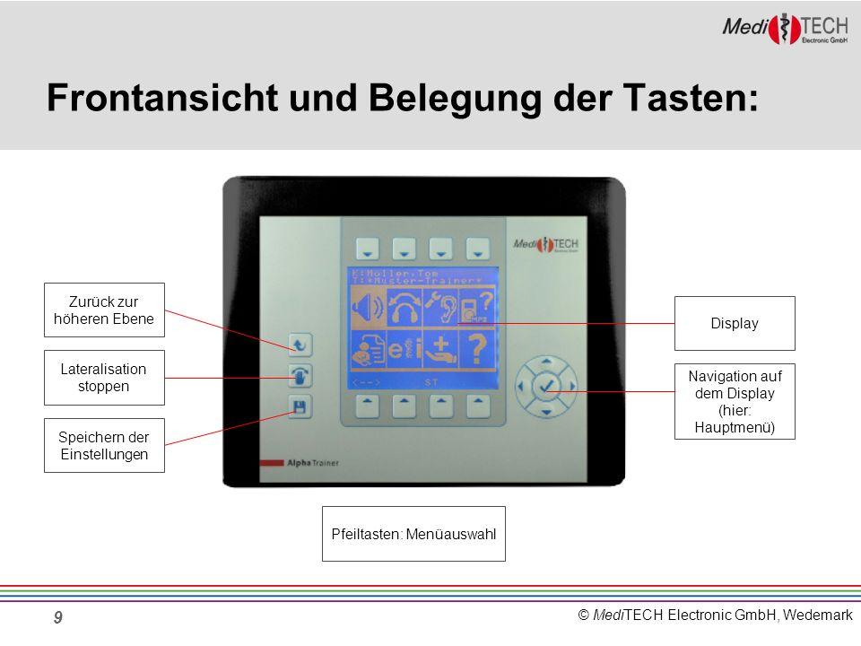 © MediTECH Electronic GmbH, Wedemark 10 Das Display im Hauptmenü Lateralisierung Lautstärke Personen- Verwaltung Wahrnehmungs- Trennschärfe- Trainer Extras z.