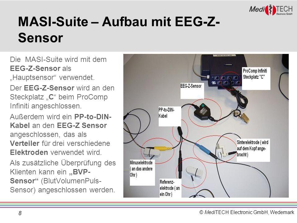 © MediTECH Electronic GmbH, Wedemark Beispiel - Bildschirm der MASI-Suite (ACHTUNG: Bildschirm ist eine Rohaufnahme OHNE Patient) Links oben erscheint das Roh-EEG (C:EEG) ZUSÄTZLICH wird eine Videokamera mit eingebunden, deren Bild rechts zu sehen ist.