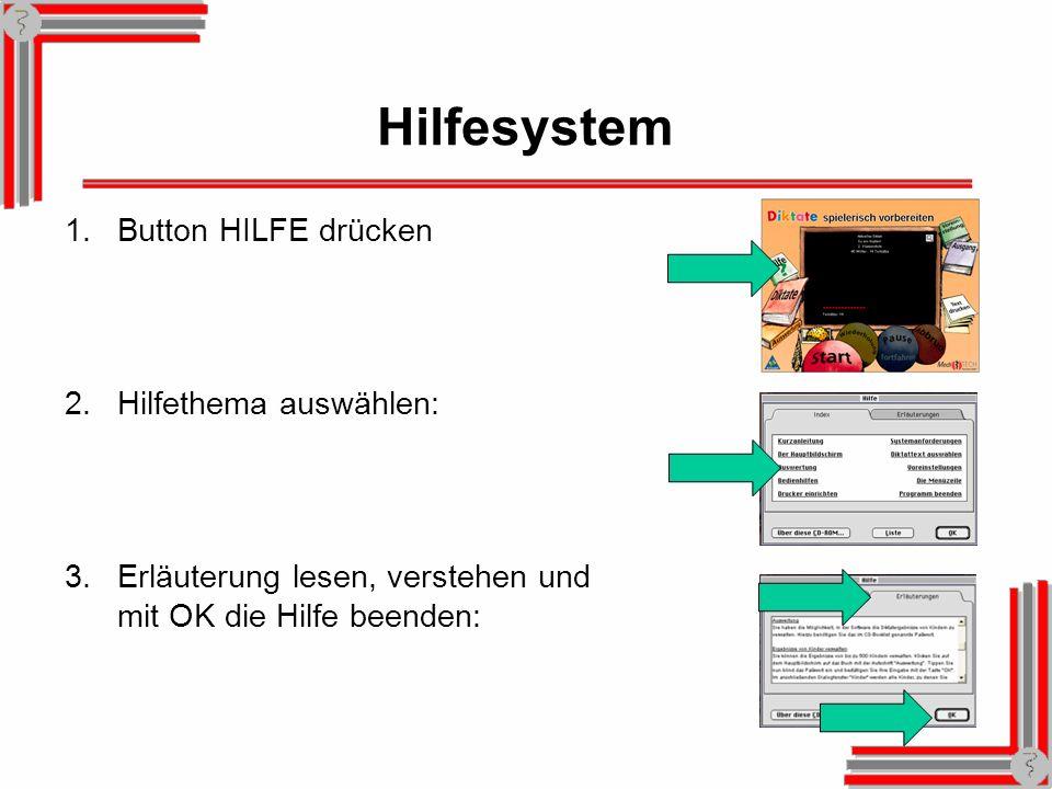 Hilfesystem 1.Button HILFE drücken 2.Hilfethema auswählen: 3.Erläuterung lesen, verstehen und mit OK die Hilfe beenden: