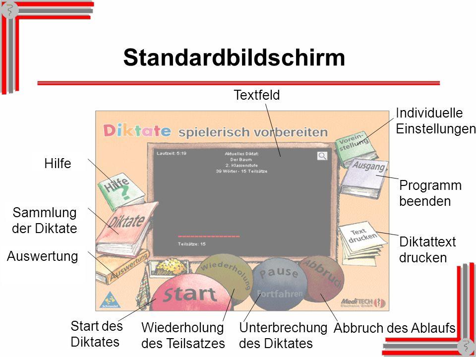 Standardbildschirm Hilfe Sammlung der Diktate Auswertung Start des Diktates Wiederholung des Teilsatzes Unterbrechung des Diktates Abbruch des Ablaufs