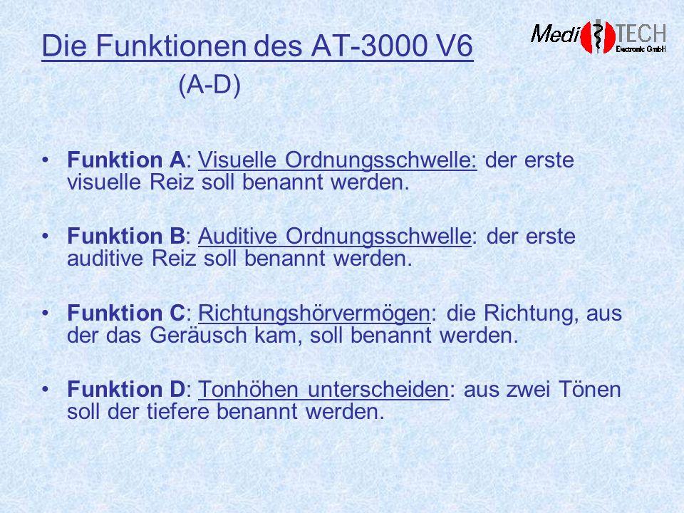Die Funktionen des AT-3000 V6 (A-D) Funktion A: Visuelle Ordnungsschwelle: der erste visuelle Reiz soll benannt werden. Funktion B: Auditive Ordnungss