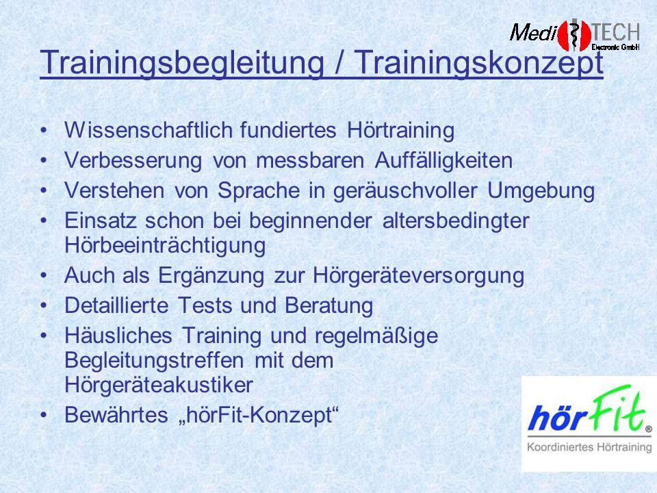 Trainingsbegleitung / Trainingskonzept Wissenschaftlich fundiertes Hörtraining Verbesserung von messbaren Auffälligkeiten Verstehen von Sprache in ger