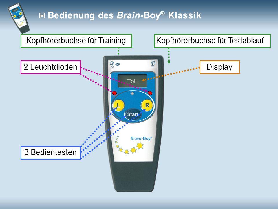 Kopfhörerbuchse für Testablauf 2 Leuchtdioden Kopfhörerbuchse für Training Bedienung des Brain-Boy ® Klassik Display 3 Bedientasten