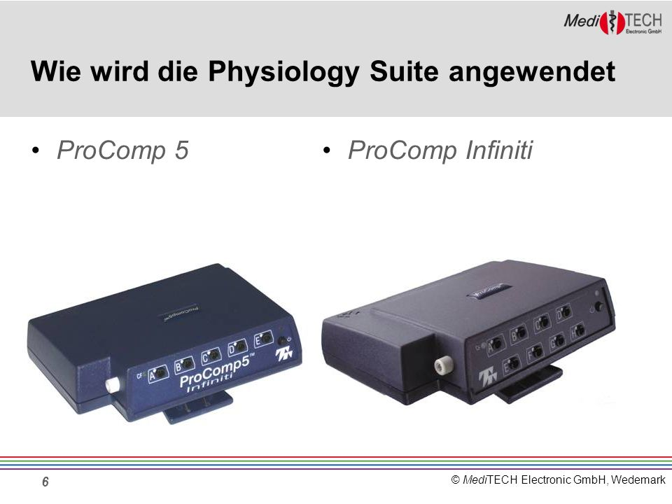 © MediTECH Electronic GmbH, Wedemark Funktionen der Physiology Suite In der Physiology Suite hat man die Möglichkeit, sich eine Kategorie und bis zu 5 Bildschirme für die aktuelle Sitzung auszuwählen.