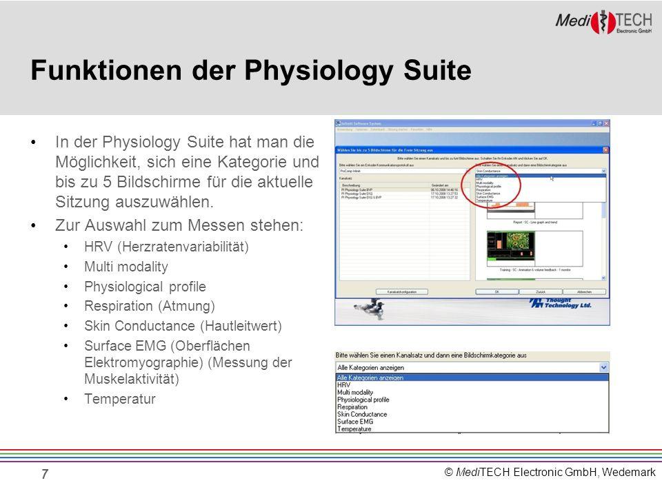 © MediTECH Electronic GmbH, Wedemark Funktionen der Physiology Suite In der Physiology Suite hat man die Möglichkeit, sich eine Kategorie und bis zu 5