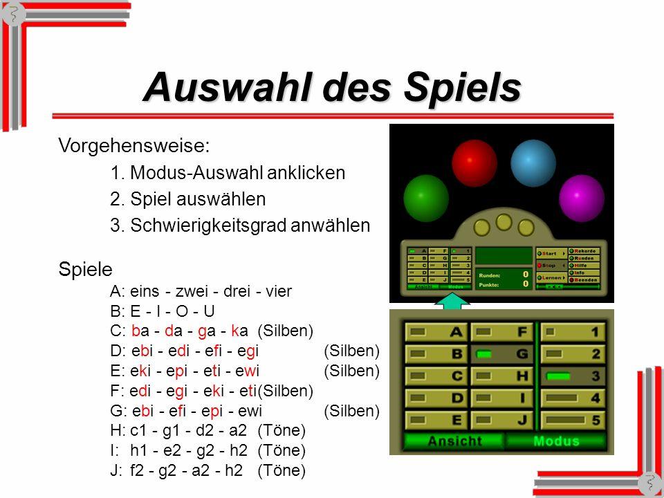 Auswahl des Spiels Vorgehensweise: 1.Modus-Auswahl anklicken 2.Spiel auswählen 3.Schwierigkeitsgrad anwählen Spiele A: eins - zwei - drei - vier B: E - I - O - U C: ba - da - ga - ka(Silben) D: ebi - edi - efi - egi(Silben) E: eki - epi - eti - ewi(Silben) F: edi - egi - eki - eti(Silben) G: ebi - efi - epi - ewi(Silben) H:c1 - g1 - d2 - a2(Töne) I:h1 - e2 - g2 - h2(Töne) J:f2 - g2 - a2 - h2(Töne)