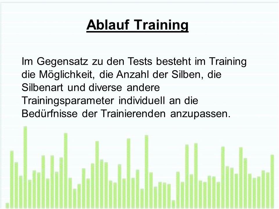 Ablauf Training Im Gegensatz zu den Tests besteht im Training die Möglichkeit, die Anzahl der Silben, die Silbenart und diverse andere Trainingsparameter individuell an die Bedürfnisse der Trainierenden anzupassen.