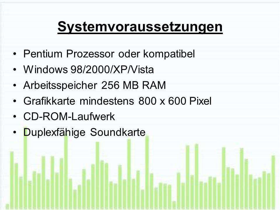 Systemvoraussetzungen Pentium Prozessor oder kompatibel Windows 98/2000/XP/Vista Arbeitsspeicher 256 MB RAM Grafikkarte mindestens 800 x 600 Pixel CD-ROM-Laufwerk Duplexfähige Soundkarte