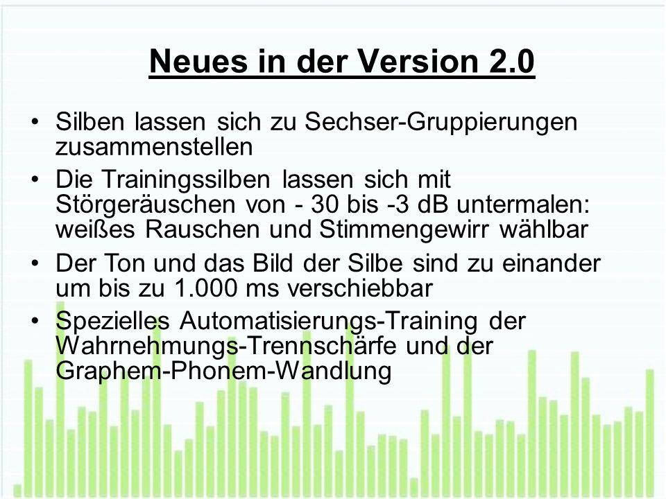 Neues in der Version 2.0 Silben lassen sich zu Sechser-Gruppierungen zusammenstellen Die Trainingssilben lassen sich mit Störgeräuschen von - 30 bis -3 dB untermalen: weißes Rauschen und Stimmengewirr wählbar Der Ton und das Bild der Silbe sind zu einander um bis zu 1.000 ms verschiebbar Spezielles Automatisierungs-Training der Wahrnehmungs-Trennschärfe und der Graphem-Phonem-Wandlung