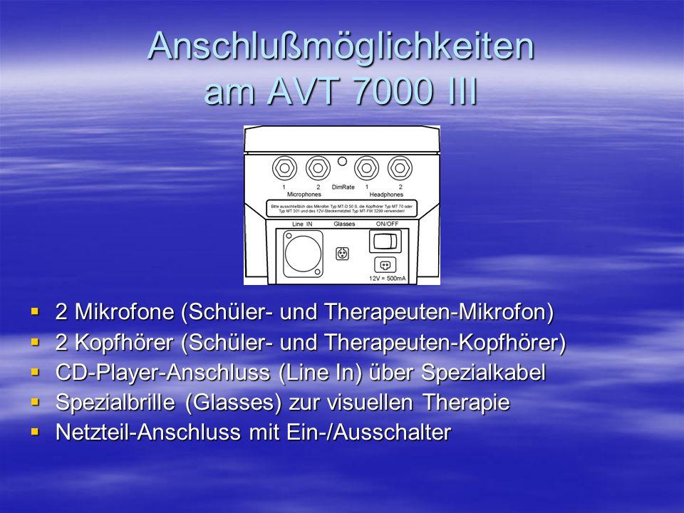 Anschlußmöglichkeiten am AVT 7000 III 2 Mikrofone (Schüler- und Therapeuten-Mikrofon) 2 Mikrofone (Schüler- und Therapeuten-Mikrofon) 2 Kopfhörer (Schüler- und Therapeuten-Kopfhörer) 2 Kopfhörer (Schüler- und Therapeuten-Kopfhörer) CD-Player-Anschluss (Line In) über Spezialkabel CD-Player-Anschluss (Line In) über Spezialkabel Spezialbrille (Glasses) zur visuellen Therapie Spezialbrille (Glasses) zur visuellen Therapie Netzteil-Anschluss mit Ein-/Ausschalter Netzteil-Anschluss mit Ein-/Ausschalter