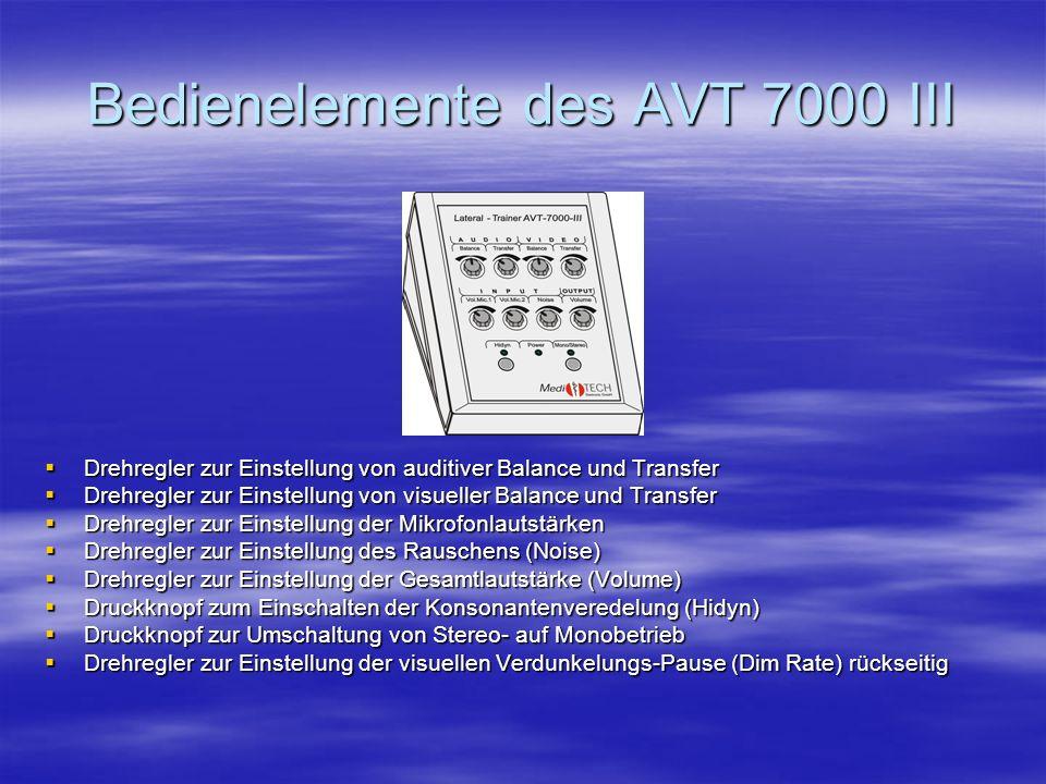 Anschlußmöglichkeiten am AVT 7000 III 2 Mikrofone (Schüler- und Therapeuten-Mikrofon) 2 Mikrofone (Schüler- und Therapeuten-Mikrofon) 2 Kopfhörer (Sch