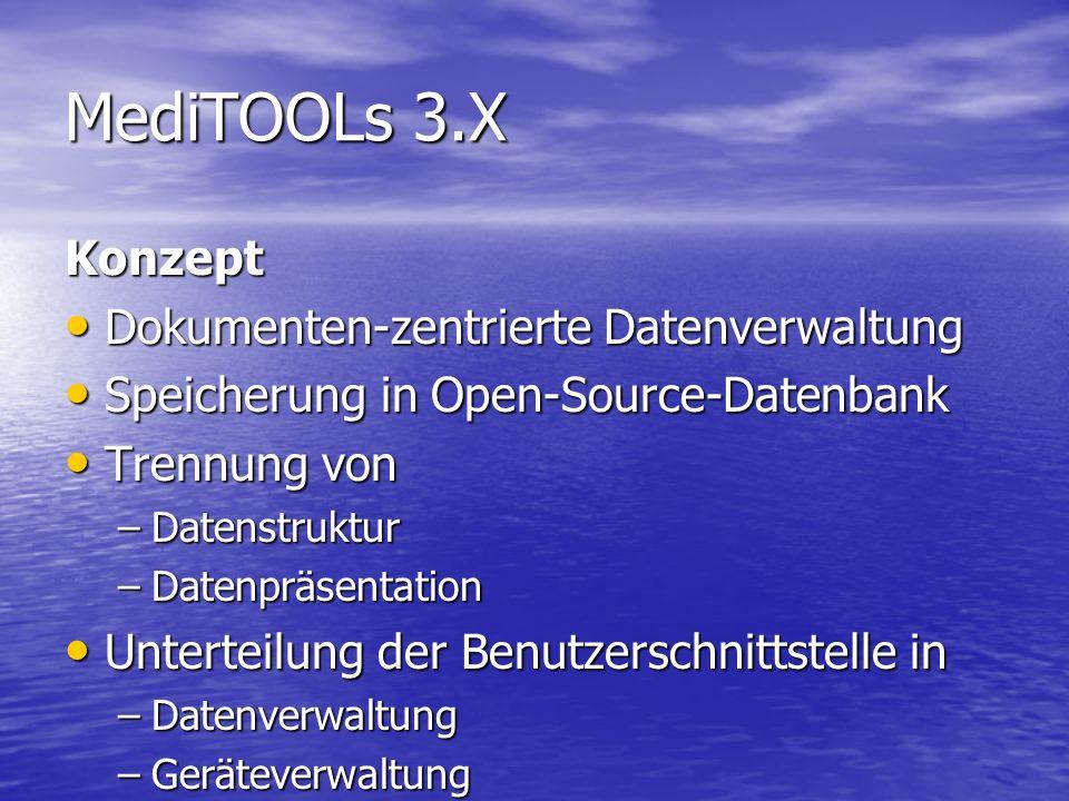Konzept Dokumenten-zentrierte Datenverwaltung Speicherung in Open-Source-Datenbank Trennung von –D–D–D–Datenstruktur –D–D–D–Datenpräsentation Unterteilung der Benutzerschnittstelle in –D–D–D–Datenverwaltung –G–G–G–Geräteverwaltung