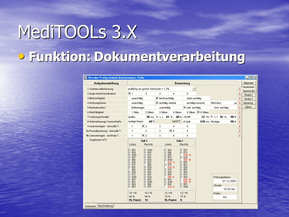 MediTOOLs 3.X Funktion: Auswertung von Daten
