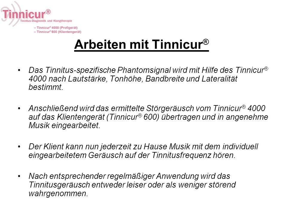 Arbeiten mit Tinnicur ® Das Tinnitus-spezifische Phantomsignal wird mit Hilfe des Tinnicur ® 4000 nach Lautstärke, Tonhöhe, Bandbreite und Lateralität
