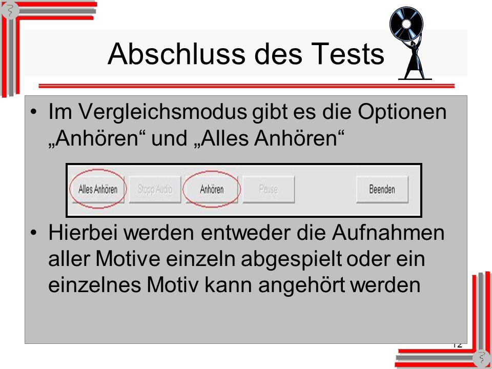 12 Abschluss des Tests Im Vergleichsmodus gibt es die Optionen Anhören und Alles Anhören Hierbei werden entweder die Aufnahmen aller Motive einzeln abgespielt oder ein einzelnes Motiv kann angehört werden
